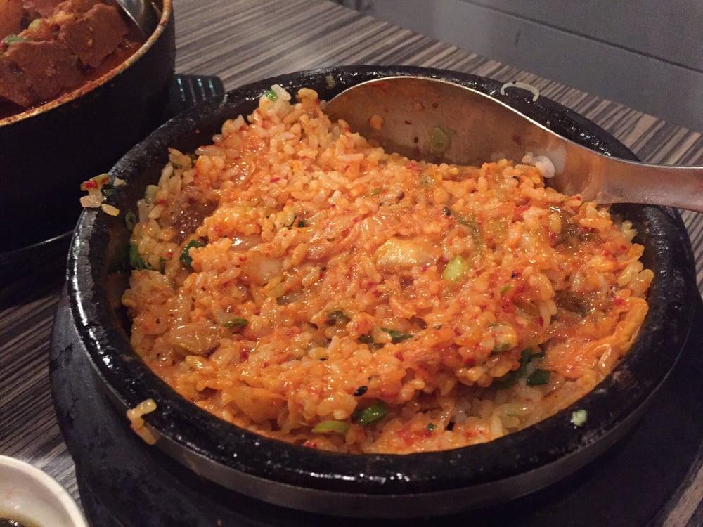 Kimchi Rice In Sizzling Stone Bowl