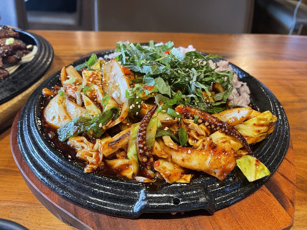 Spicy Stripped Fried Octopus and Veggie over Rice